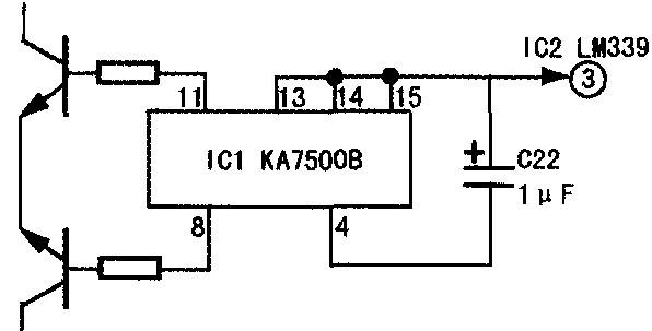 拆出电路板,试对ic1ka7500b(4)脚直接短路,假负载汽车灯泡正常